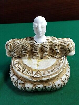Bactrian very old wonderful alabaster stone composite royal male figure statue