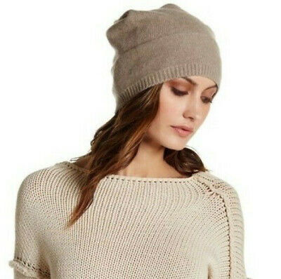 PORTOLANO Solid Slouchy 100% Cashmere Beanie light brown/beige* NEW WITH TAGS
