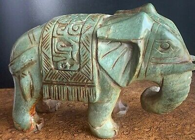Large Heavy Very Old Antique Hand-carved Chinese Jade Elephant Carving Statue