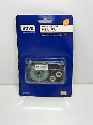 "2 Ativa 3//8/"" 9mm Black On Clear Tape AT-C-9X-S For AT-LP-1000 Label Printer"