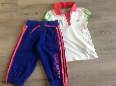 Adidas  Girls  Small Sportswear Bundle / Outfit Top Joggers 7-8Yrs (Hb)