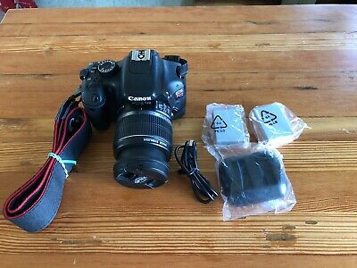 Canon EOS Rebel T2i With 18-55mm Lens Strap 3 Batteries Charger And 4GB SD Card
