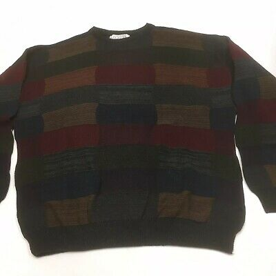 Gianfranco Ruffini Mens XL Crew Neck Sweater Patchwork Multi Color Acrylic Italy