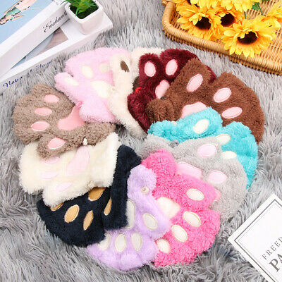 Lovely Winter Fluffy Warm Plush Cat Paw Fingerless Children Gloves Mittens