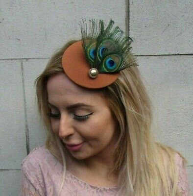 Tan Rust Brown Green Peacock Feather Hat Fascinator Hair Clip Races Small 0100