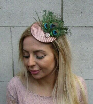 Rose Gold Green Peacock Feather Hat Fascinator Hair Clip Vtg Races Small 0101