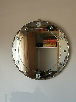 Large Antique 1920's Art Deco Bevelled Circular Hanging Wall Mirror 60's Daisy