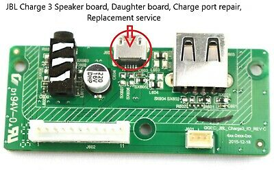 JBL Charge 3 Speaker board, Mail in REPAIR SERVICE For Micro USB Charging Port.