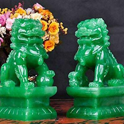 A Pair of Fu Foo Dogs Guardian Lion Statues with Stone Finish Feng Shui Decor Cu