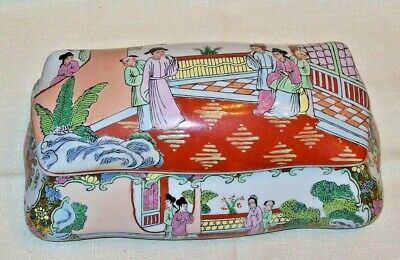Antique Chinese Porcelain Enamel Export Box Famille Rose Mandarin Signed