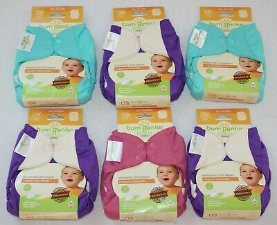 NEW BumGenius Elemental Organic Cotton Diapers Original Mirror Zinnia Oops Lot 6