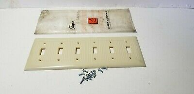 Vintage Sierra Ribbed Bakelite 6 Gang Toggle Switch Wall Plate Cover Ivory