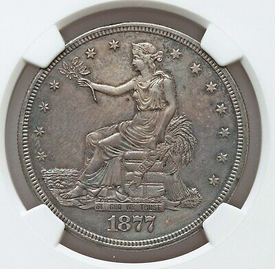 1877-S NGC Unc Details Trade Dollar Toned Uncirculated Nice Type Coin
