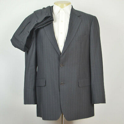BROOKS BROTHERS Stretch Wool Pinstripe Gray Suit Pleated Pants Sz 40R 34 x 31