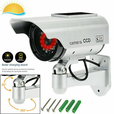 Solar Dummy Camera CCTV Security Surveillance Cam Fake Red IR LED Indoor Outdoor