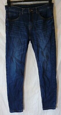 Boys Zara Dark Blue Whiskered Denim Adjustable Waist Relax Jeans Age 11-12 Years