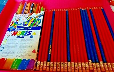 jm8--BUNDLE STAEDTLER COLOURING PENCILS & WOOLWORTH DRAWING PENCILS WITH ERASERS