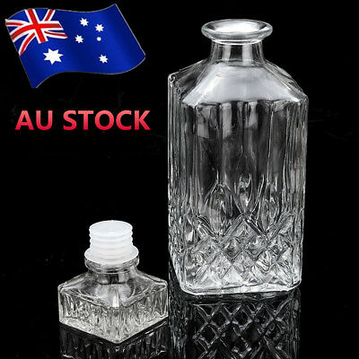 2x 800ml Glass Liquor Whiskey Wine Crystal Bottle Drink Decanter Carafe Stopper