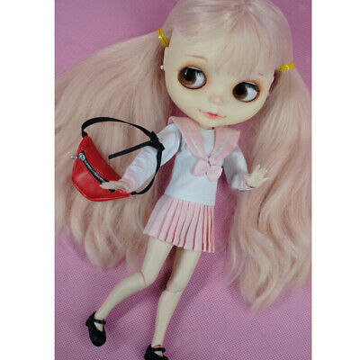 Stylish Waist Bags PU Leather Fanny Pack Belt Bags Wallet for 1:3 BJD Dolls Red