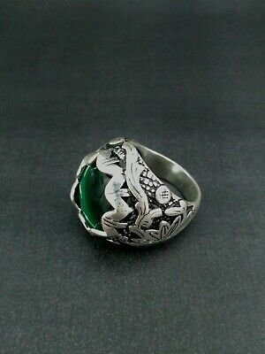 ANTIQUE TIMEWORN OLD VINTAGE RARE VIKING Ethnic Silver Handcraft Quality RING