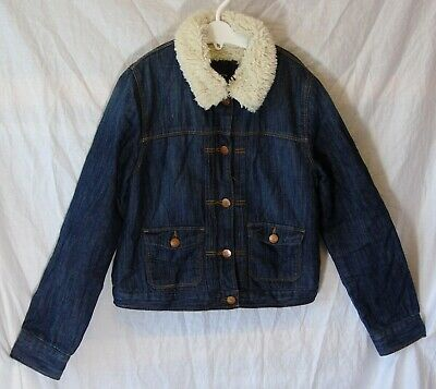Girls Gap Blue Denim Furry Fleece Lined Collared Jacket Coat Age 13-14 Years
