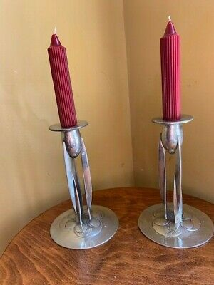 "Rare pair of Archibald Knox, Tudric Pewter ""0223 ""Tall Candlesticks"