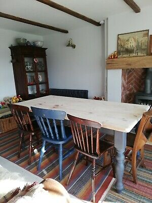 Large Farmhouse Table - solid pine kitchen dining painted country furniture