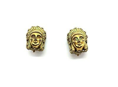 Antique 1920's Art Deco Egyptian Revival Goddess Head Clip on Earrings