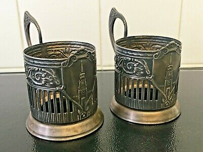Pair of Vintage Russian Tea Glass Holders (Podstakannik) Silver Plated