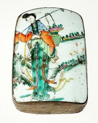 20C Chinese Silver Alloy Box w. Inset Pottery Chard w Robed Female Figure (FLA)