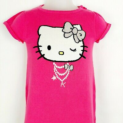 H&M Girls Kids Hello Kitty Pink Fine Knitted Short Sleeve Dress Age 4-6 Years