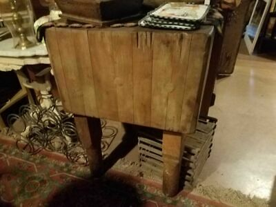 LARGE ANTIQUE BUTCHER CHOPPING BLOCK on LEGS STURDY!