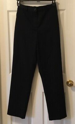 New Lands End Black Twill High Rise Womens Fit 3 Straight Leg Pants Size 6