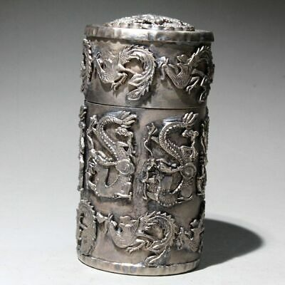 Collectable Chinese Old Miao Silver Hand-Carved Vivid Dragon Noble Toothpick Box