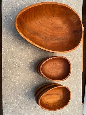 VTG Large Wooden Serving Bowl w/ 6 Salad Bowls