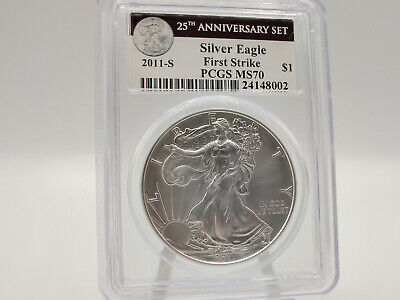 2011-S PCGS MS70 American Silver Eagle **25th Anniversary Set** FIRST STRIKE