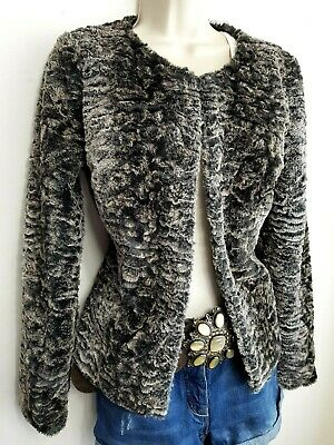 Next Womens Fluffy Faux Fur Jacket Uk8 Beige Black