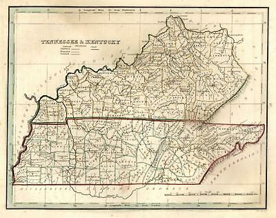 Kentucky Tennessee State Map counties Ohio river 1835 Bradford early U.S. map
