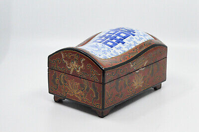 Antique Chinese Wooden Box With Porcelain Lid, 7 x 4.5 x 4 Inches -