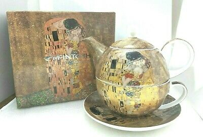 "WY. ""McINTOSH"" Klimt The Kiss Tea for One Teapot Cup Set Fine Bone China w/Box"