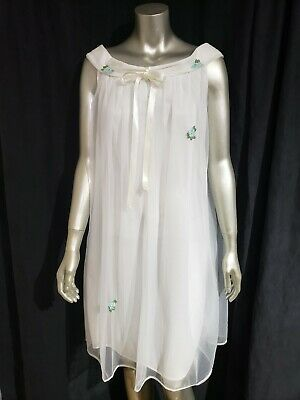 Vintage Nightgown White Sheer Nylon With Applique Womens Size Large USA 1950s