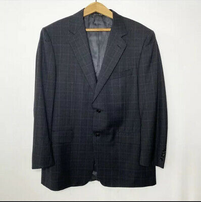 Canali Wool Blazer 52 R US 42 R Gray Blue Check Plaid Two Button Suit Jacket