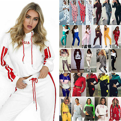 Women's Pullover Casual Sweatshirt Jogging Casual Sport Trousers Tracksuit Set