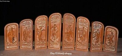 """16"""" Rare Old Chinese Boxwood Wood Carved Eight Immortals figure Statue Boxs"""