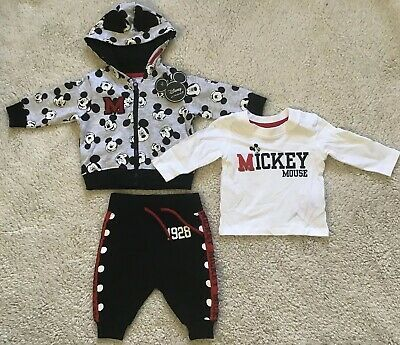 Baby Boy Primark Disney Mickey Mouse 3 Piece Outfit Set Size 0-3 Months