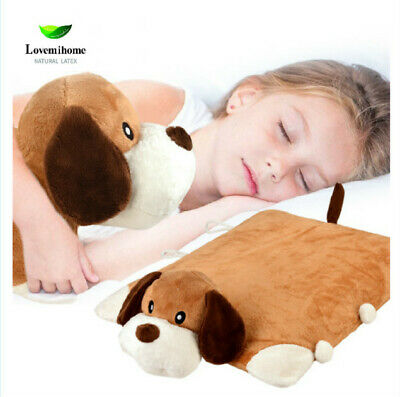 Dog Puppy 100% Natural Latex Pillow with Case  Foldable Pillow Toy for Kids Gift