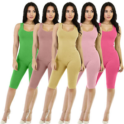 NEW Stylish Women's Lowcut Sleeveless Solid Color Bodycon Sporty Jumpsuit Club