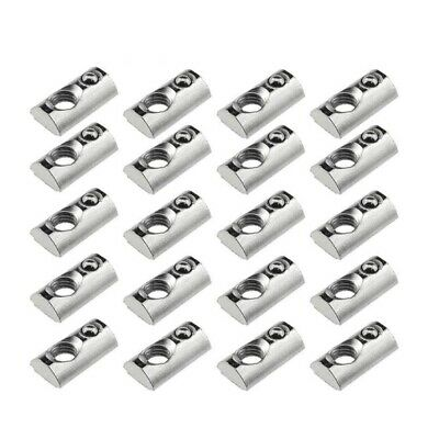25 Pack 2020 Series M5 T Slot Nuts Roll-In Spring Ball Loaded Elastic Nuts M4K4