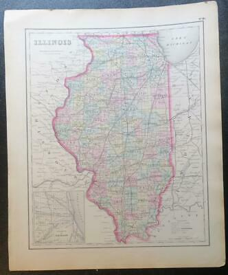 Original 1855 Colton's Illinois Map,Counties,Lake Mich.,Plats,Counties,Railroads
