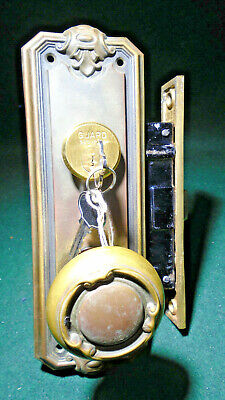 CORBIN #1323 ART DECO ENTRY MORTISE LOCK SET w/PLATES, KNOBS, KEYS (12438)